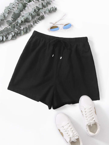 Drawstring Waist Wide Leg Shorts - INS | Online Fashion Free Shipping Clothing, Dresses, Tops, Shoes
