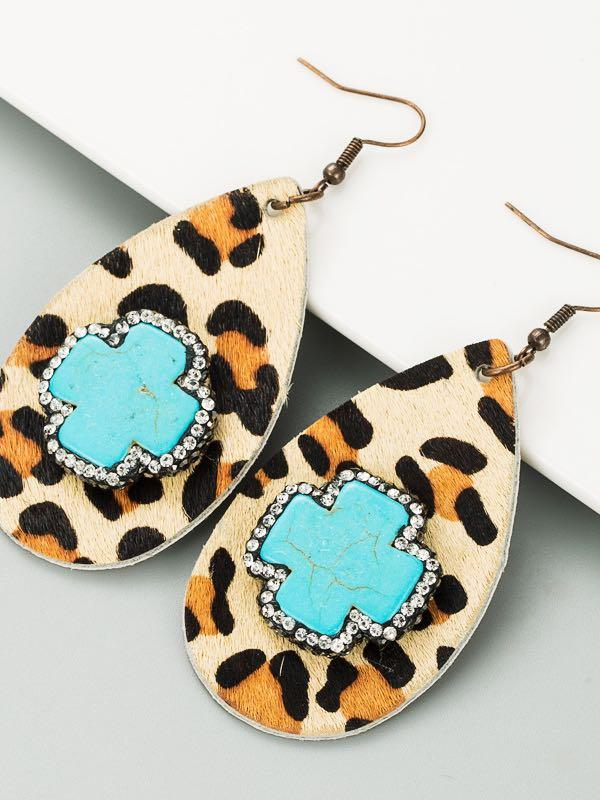 Drop-shaped leather leopard print earrings female small fresh retro earrings with diamonds - INS | Online Fashion Free Shipping Clothing, Dresses, Tops, Shoes