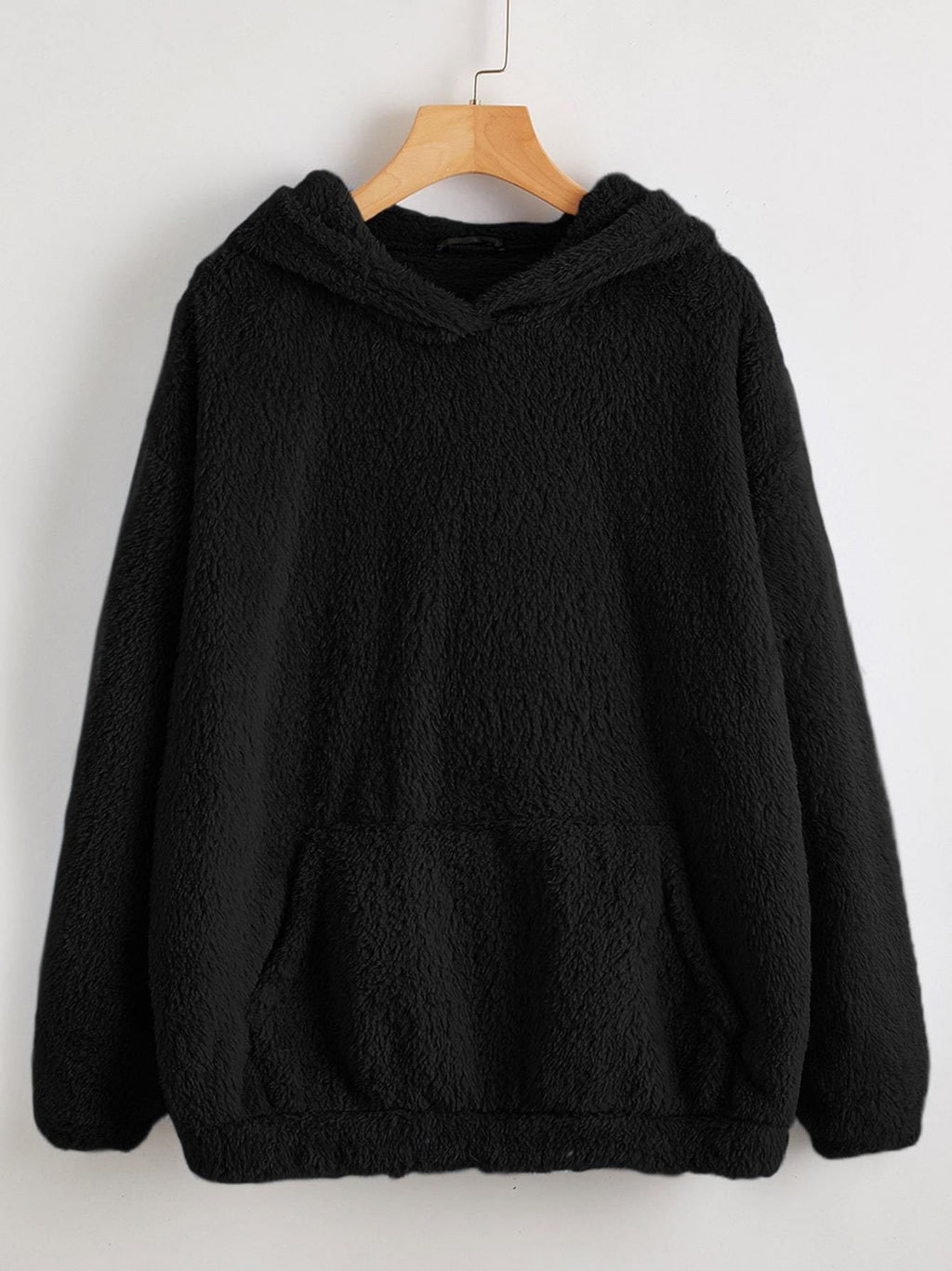 Drop Shoulder Kangaroo Pocket Teddy Hoodie - INS | Online Fashion Free Shipping Clothing, Dresses, Tops, Shoes