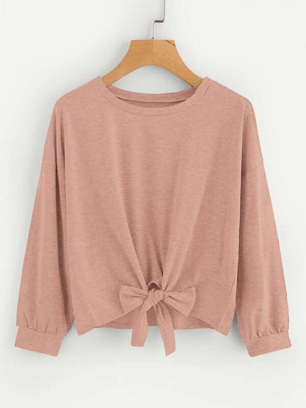 Drop Shoulder Knot Front Sweatshirt - INS | Online Fashion Free Shipping Clothing, Dresses, Tops, Shoes