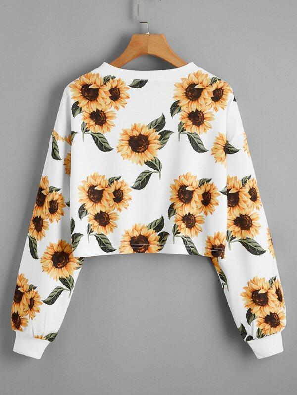 Drop Shoulder Sunflower Print Crop Pullover - INS | Online Fashion Free Shipping Clothing, Dresses, Tops, Shoes
