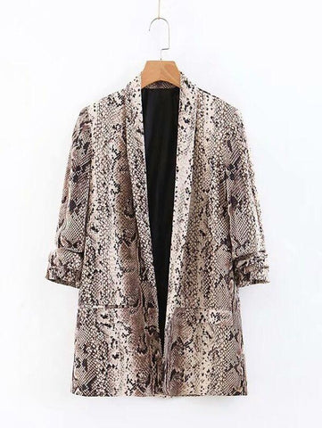 Dual Pocket Snakeskin Print Blazer - INS | Online Fashion Free Shipping Clothing, Dresses, Tops, Shoes