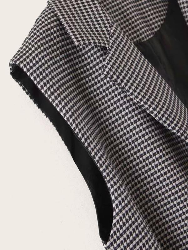 Dual Pockets Belted Houndstooth Blazer Vest - INS | Online Fashion Free Shipping Clothing, Dresses, Tops, Shoes