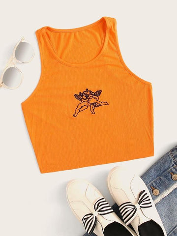 Embroidered Cherub Graphic Cropped Tank Top - INS | Online Fashion Free Shipping Clothing, Dresses, Tops, Shoes