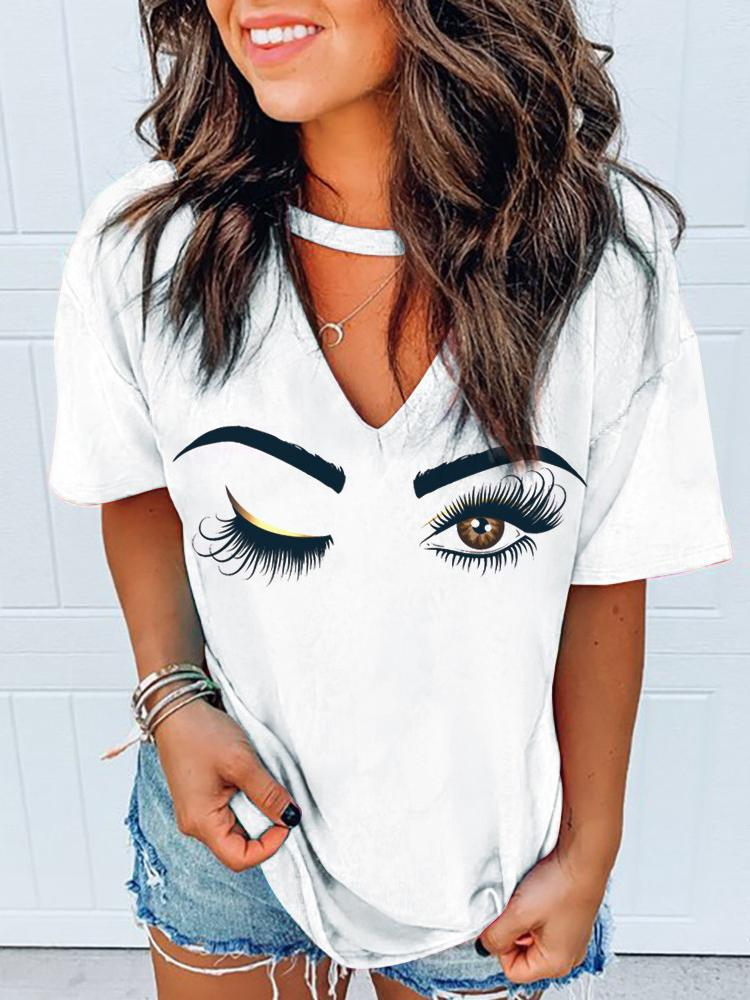 Eyes Print Cutout Front Casual T-shirt - T-Shirts - INS | Online Fashion Free Shipping Clothing, Dresses, Tops, Shoes - 27/04/2021 - Color_White - Season_Summer