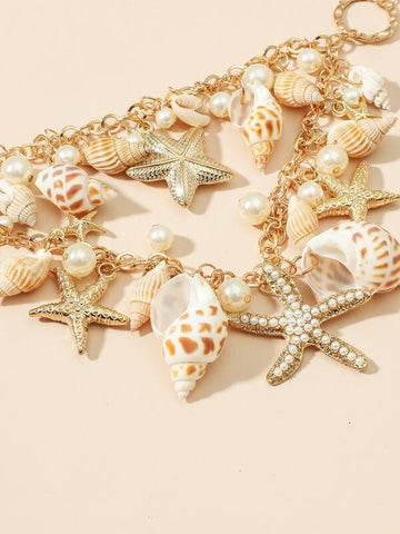 Faux Pearl Conch Charm Necklace - INS | Online Fashion Free Shipping Clothing, Dresses, Tops, Shoes