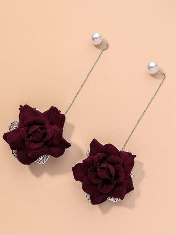 Faux Pearl Decor Flower Drop Earrings - INS | Online Fashion Free Shipping Clothing, Dresses, Tops, Shoes