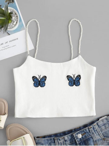 Faux Pearl Ribbed Butterfly Embroidered Cami Top - INS | Online Fashion Free Shipping Clothing, Dresses, Tops, Shoes