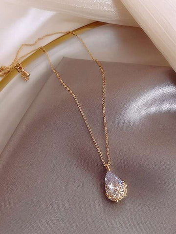 Faux Teardrop Crystal Charm Necklace - INS | Online Fashion Free Shipping Clothing, Dresses, Tops, Shoes