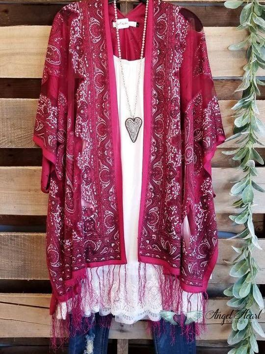 FINDING MY BALANCE KIMONO - CRANBERRY - INS | Online Fashion Free Shipping Clothing, Dresses, Tops, Shoes