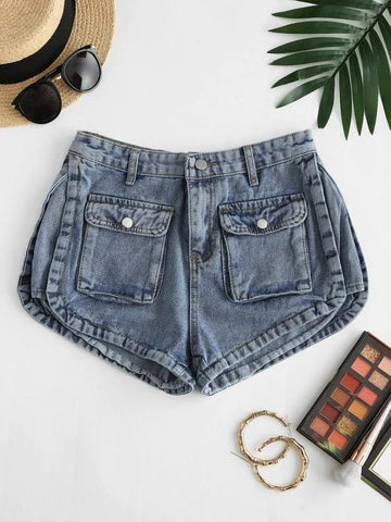 Flap Pockets Denim Cargo Shorts - INS | Online Fashion Free Shipping Clothing, Dresses, Tops, Shoes