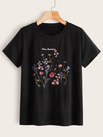 Flora Batanica Flower Graphic Tee - INS | Online Fashion Free Shipping Clothing, Dresses, Tops, Shoes