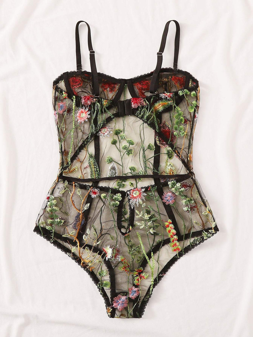 Floral Embroidered Mesh Underwire Teddy Bodysuit - INS | Online Fashion Free Shipping Clothing, Dresses, Tops, Shoes
