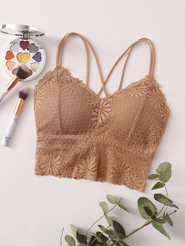 Floral Lace Crisscross Bralette - INS | Online Fashion Free Shipping Clothing, Dresses, Tops, Shoes