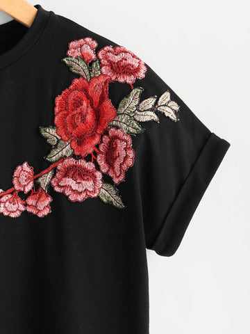 Floral Patch Cuffed Sleeve Tee - INS | Online Fashion Free Shipping Clothing, Dresses, Tops, Shoes