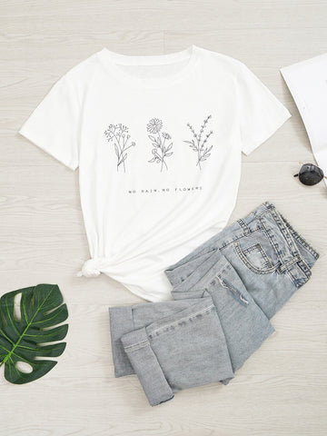 Floral & Slogan Graphic Tee - INS | Online Fashion Free Shipping Clothing, Dresses, Tops, Shoes