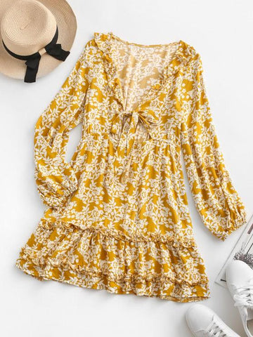 Floral Tie Front Ruffles Long Sleeve Dress - INS | Online Fashion Free Shipping Clothing, Dresses, Tops, Shoes