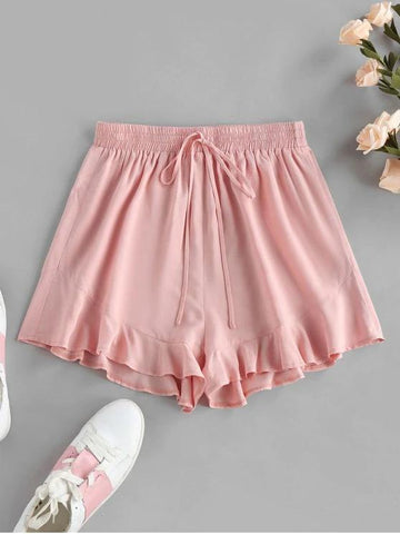Flounce Tie Elastic Waist Shorts - INS | Online Fashion Free Shipping Clothing, Dresses, Tops, Shoes