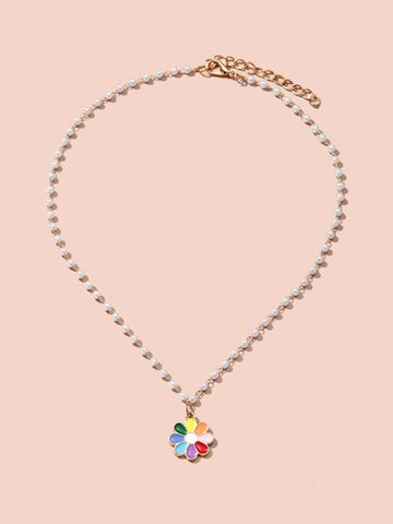 Flower Charm Necklace - INS | Online Fashion Free Shipping Clothing, Dresses, Tops, Shoes