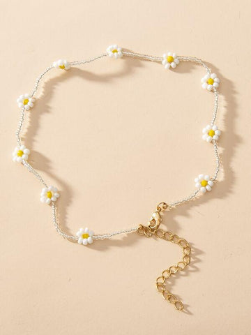 Flower Decor Beaded Necklace - INS | Online Fashion Free Shipping Clothing, Dresses, Tops, Shoes