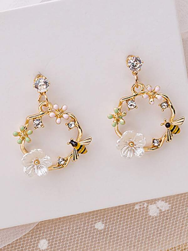 Flower Decor Irregular Circle Earrings - INS | Online Fashion Free Shipping Clothing, Dresses, Tops, Shoes
