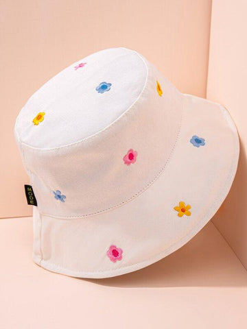 Flower Embroidery Bucket Hat - INS | Online Fashion Free Shipping Clothing, Dresses, Tops, Shoes
