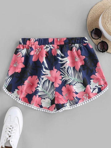 Flower Print Crochet Trim Tulip Shorts - INS | Online Fashion Free Shipping Clothing, Dresses, Tops, Shoes