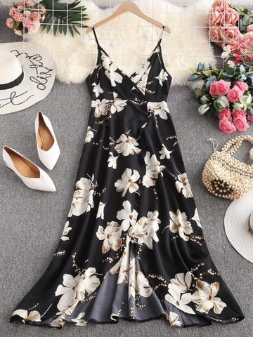 Flower Slit Maxi Surplice Dress - INS | Online Fashion Free Shipping Clothing, Dresses, Tops, Shoes