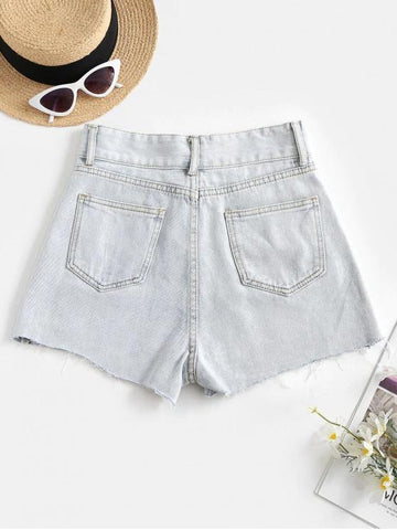 Frayed Hem Daisy Embroidered Denim Shorts - INS | Online Fashion Free Shipping Clothing, Dresses, Tops, Shoes