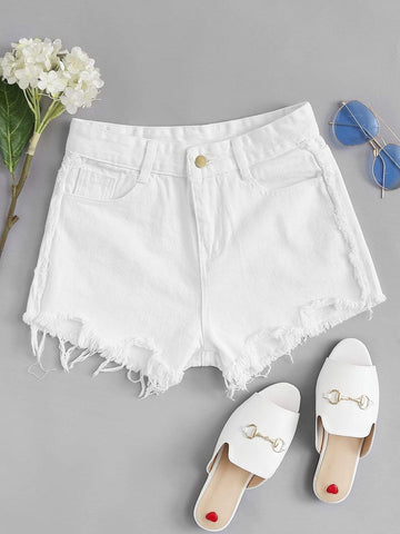 Frayed Hem Denim Shorts - INS | Online Fashion Free Shipping Clothing, Dresses, Tops, Shoes