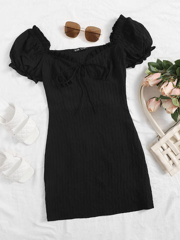 Frill Trim Tie Front Crinkle Dress - INS | Online Fashion Free Shipping Clothing, Dresses, Tops, Shoes