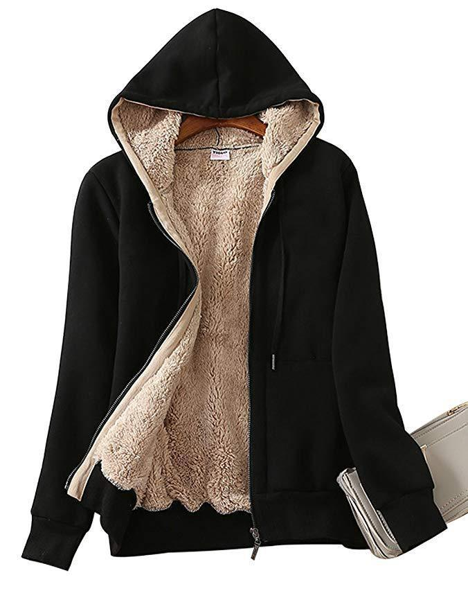 GEMEOOID Hoodie for Ladies Winter Fleece Sweatshirt-Full Zipper Thick Sherpa Lining - INS | Online Fashion Free Shipping Clothing, Dresses, Tops, Shoes