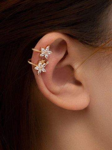 Gemstone Decor Floral Ear Cuff - INS | Online Fashion Free Shipping Clothing, Dresses, Tops, Shoes