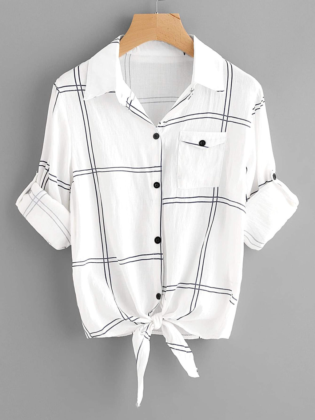 Grid Print Self-Tie Short Sleeve Shirt - INS | Online Fashion Free Shipping Clothing, Dresses, Tops, Shoes