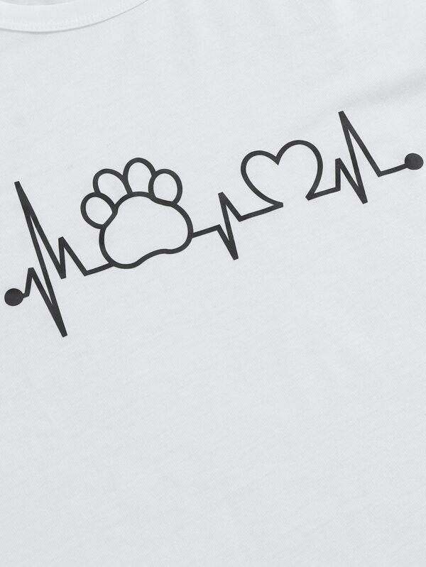Heart And Letter Graphic Tee - INS | Online Fashion Free Shipping Clothing, Dresses, Tops, Shoes