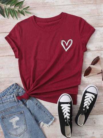 Heart Print Crew Neck Tee - INS | Online Fashion Free Shipping Clothing, Dresses, Tops, Shoes