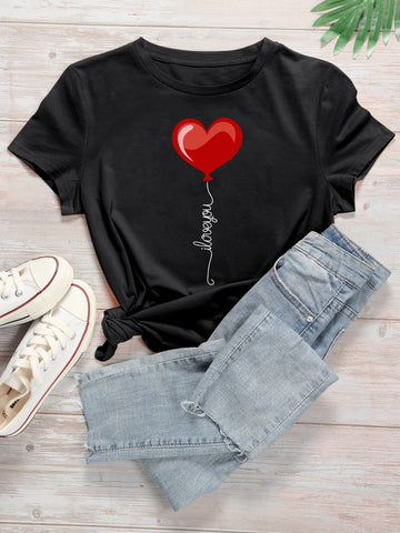 Heart & Slogan Graphic Round Neck Tee - INS | Online Fashion Free Shipping Clothing, Dresses, Tops, Shoes