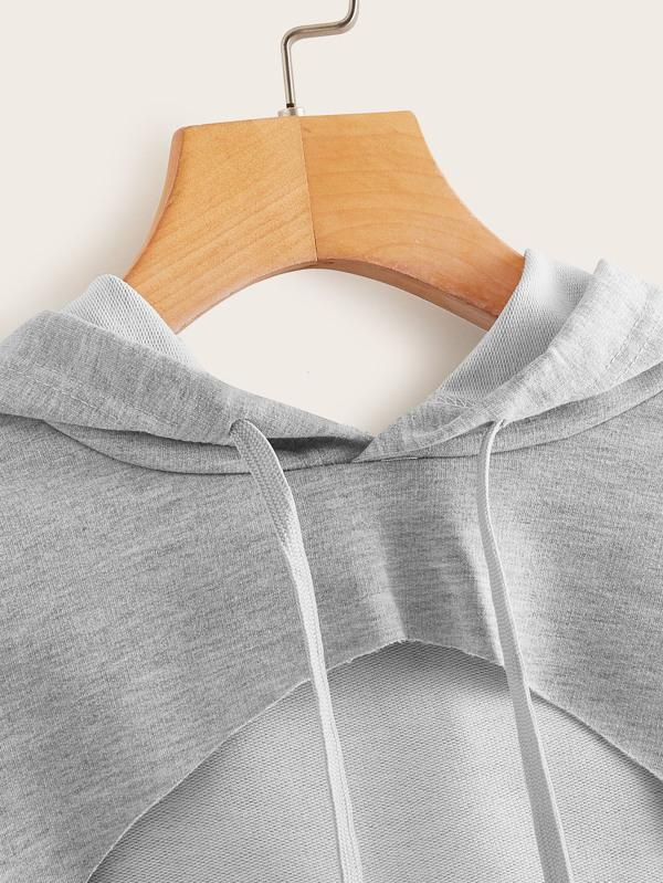 Heathered Knit Cutout Drawstring Hoodie - INS | Online Fashion Free Shipping Clothing, Dresses, Tops, Shoes