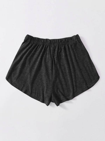 Heathered Knit Tulip Hem Drawstring Shorts - INS | Online Fashion Free Shipping Clothing, Dresses, Tops, Shoes