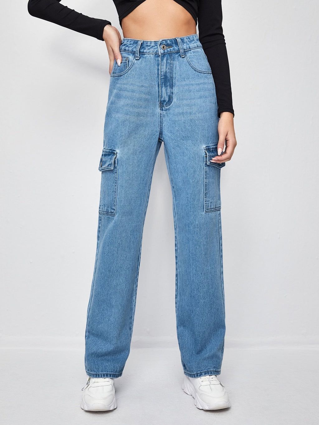 High-Waisted Patch Pocket Straight Jeans - INS | Online Fashion Free Shipping Clothing, Dresses, Tops, Shoes