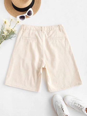 High Waisted Pocket Denim Bermuda Shorts - INS | Online Fashion Free Shipping Clothing, Dresses, Tops, Shoes