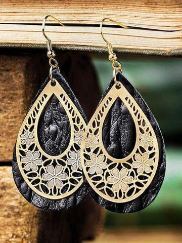 Hollow Out Floral Water Drop Leather Earrings - INS | Online Fashion Free Shipping Clothing, Dresses, Tops, Shoes