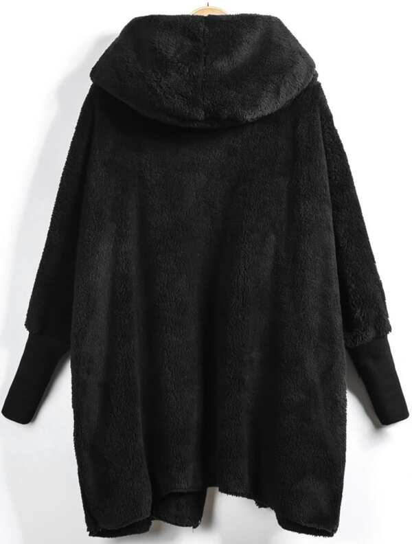 Hooded Open Front Fluffy Teddy Coat - INS | Online Fashion Free Shipping Clothing, Dresses, Tops, Shoes