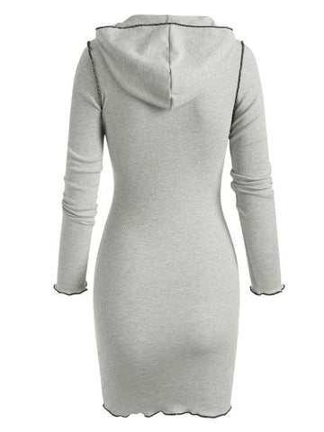 Hooded Rib-knit Slinky Topstitching Bodycon Dress - INS | Online Fashion Free Shipping Clothing, Dresses, Tops, Shoes