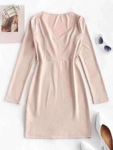 Hook Placket Sweetheart Bodycon Mini Dress - INS | Online Fashion Free Shipping Clothing, Dresses, Tops, Shoes