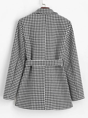 Houndstooth Belted Pocket Tweed Blazer - INS | Online Fashion Free Shipping Clothing, Dresses, Tops, Shoes