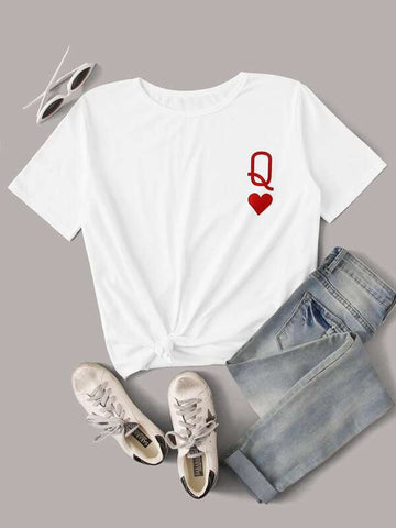 Katy Perry's Picks Queen of Hearts Symbol Graphic Tee - INS | Online Fashion Free Shipping Clothing, Dresses, Tops, Shoes