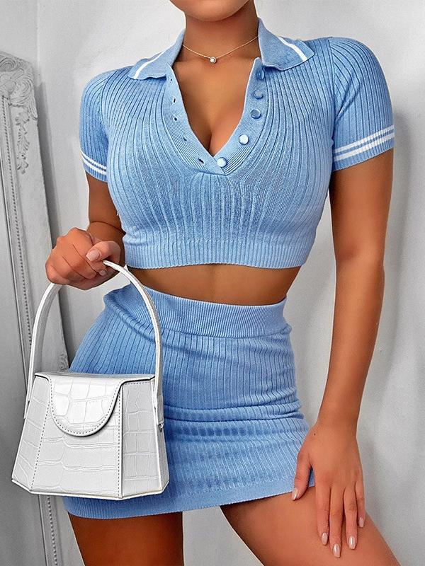 Knitted Ribbed Knitting Crop Top Two Pieces Set - Two-piece Outfits - INS | Online Fashion Free Shipping Clothing, Dresses, Tops, Shoes - 24/04/2021 - Color_Blue - Color_White