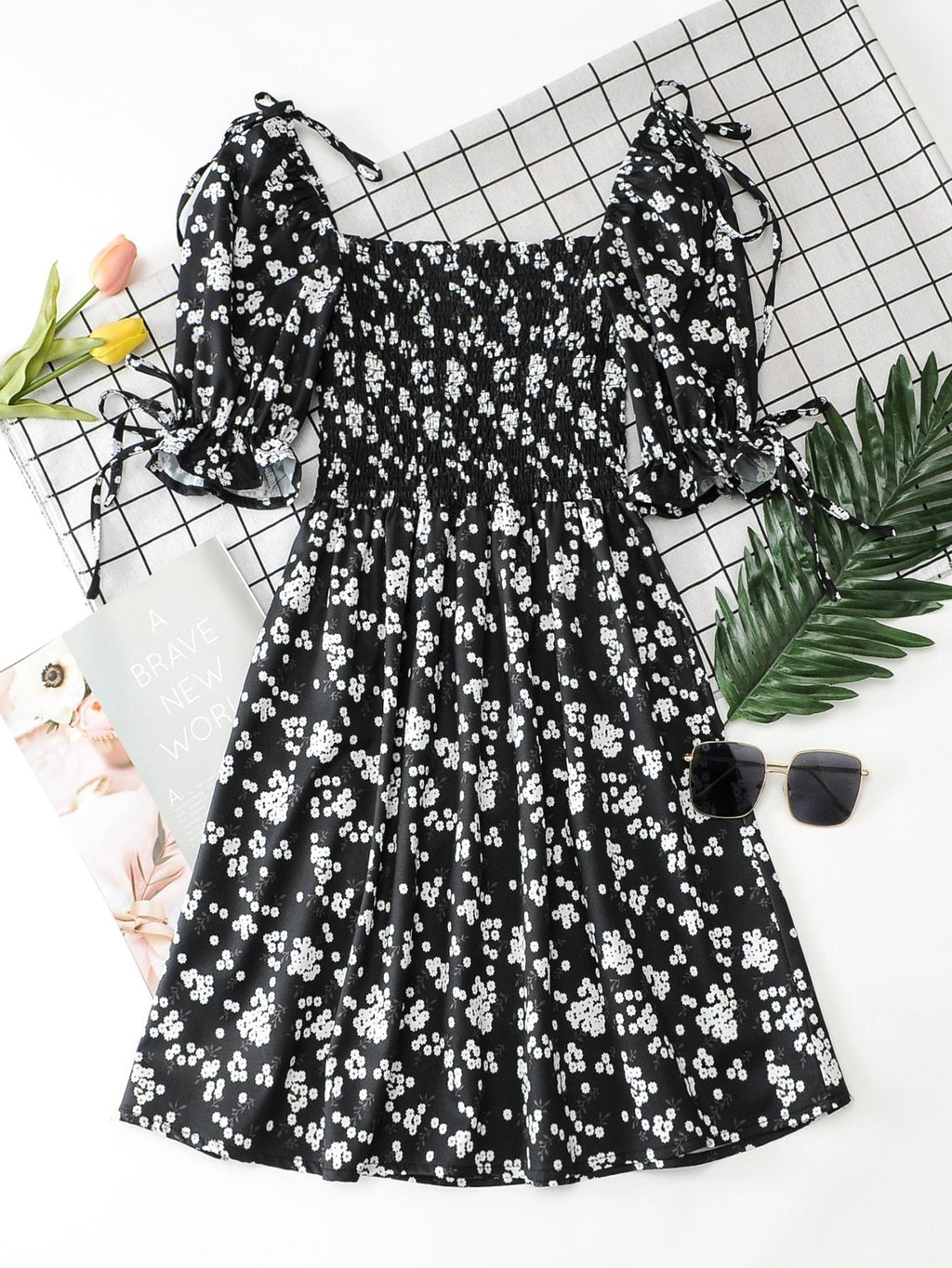 Knot Detail Ditsy Floral Shirred Dress - INS | Online Fashion Free Shipping Clothing, Dresses, Tops, Shoes