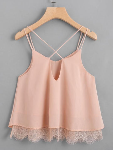 Lace Hem Criss Cross Back Strappy Top - INS | Online Fashion Free Shipping Clothing, Dresses, Tops, Shoes